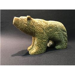 GRIZZLY BEAR CARVED SOAPSTONE SCULPTURE BY SANDRA SCHAEFER FROM FORT SMITH NORTHWEST TERRITORIES