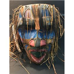 WILD MAN OF THE WOODS CARVED MASK BY NI'HA7KAPMX NATION ARTIST HUBERT V. BILLY