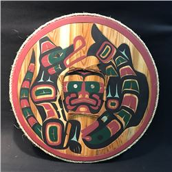 CARVED CEDAR CIRCULAR PANEL WITH ROPE FRAME BY NI'GA7KAPMX NATION ARTIST HUBERT V. BILLY.