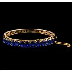 18.72 ctw Sapphire Bangle Bracelet - 18KT Yellow Gold