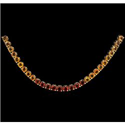 33.95 ctw Multi Color Sapphire Necklace - 14KT Yellow Gold