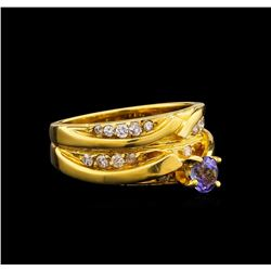 0.45 ctw Tanzanite and Diamond Ring - 18KT Yellow Gold