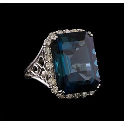 14KT White Gold 31.13 ctw Topaz and Diamond Ring