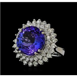 14.78 ctw Tanzanite and Diamond Ring - 14KT White Gold