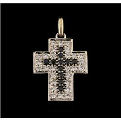 0.90 ctw Black Diamond Cross Pendant - 18KT White Gold