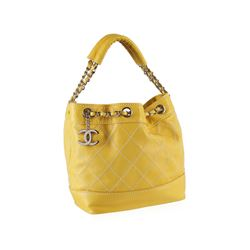 Chanel Yellow Leather Drawstring Bag