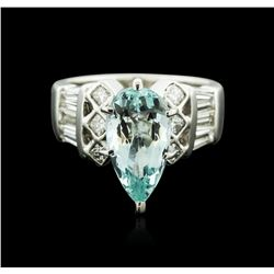 Platinum 2.07 ctw Aquamarine and Diamond Ring