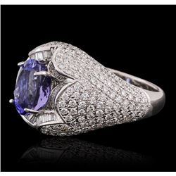 18KT White Gold 2.51 ctw Tanzanite and Diamond Ring