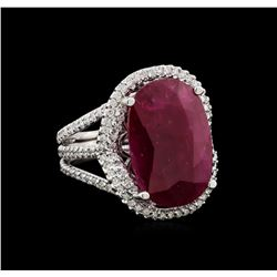 GIA Cert 12.23 ctw Ruby and Diamond Ring - 14KT White Gold