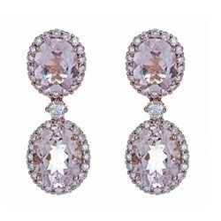 7.35 ctw Morganite and Diamond Earrings - 14KT Rose Gold