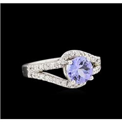 1.16 ctw Tanzanite and Diamond Ring - 14KT White Gold