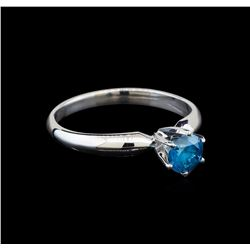 14KT White Gold 0.57 ctw Round Cut Fancy Blue Diamond Solitaire Ring