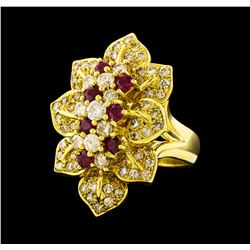 Ruby and Diamond Ring - 18KT Yellow Gold