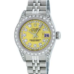 Rolex Stainless Steel Diamond DateJust Ladies Watch