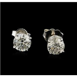 1.43 ctw Diamond Solitaire Earrings - 14KT White Gold