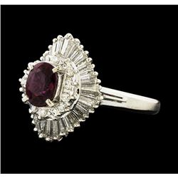 1.02 ctw Ruby and Diamond Ring - Platinum