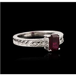 14KT White Gold 1.05 ctw Ruby and Diamond Ring