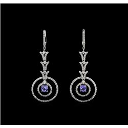 14KT White Gold 1.46 ctw Tanzanite and Diamond Earrings