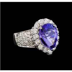 14KT White Gold 4.32 ctw Tanzanite and Diamond Ring