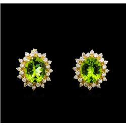 8.00 ctw Peridot and Diamond Earrings - 14KT Yellow Gold