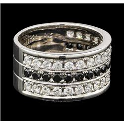 0.84 ctw Diamond and Black Diamond Ring - 18KT White Gold