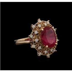5.30 ctw Ruby and Diamond Ring - 14KT Rose Gold