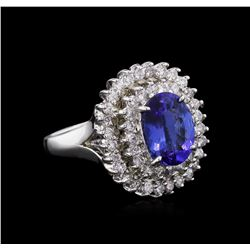 2.21 ctw Tanzanite and Diamond Ring - 14KT White Gold
