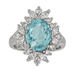 4.38 ctw Paraiba Tourmaline and Diamond Ring - 18KT White Gold