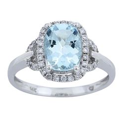 1.64 ctw Aquamarine and Diamond Ring - 10KT White Gold