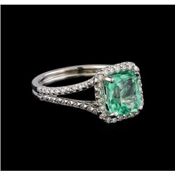 2.33 ctw Emerald and Diamond Ring - 14KT White Gold