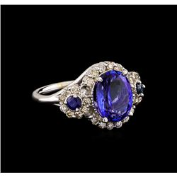 14KT White Gold 4.08 ctw Tanzanite, Sapphire & Diamond Ring
