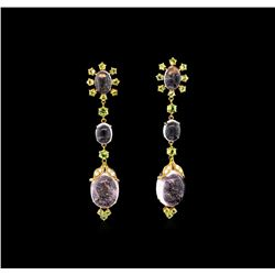 36.43 Morganite, Periodot, and Diamond Earrings - 18KT Rose Gold