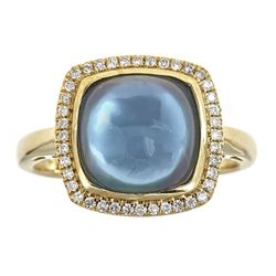 4.87 ctw Swiss Blue Topaz and Diamond Ring - 10KT Yellow Gold