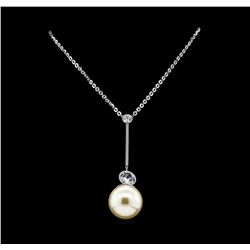Round Crystal Bezel Pearl Necklace - Silver Plated