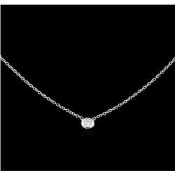 0.10 ctw Diamond Solitaire Necklace - 14KT White Gold