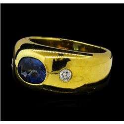 1.65 ctw Sapphire and Diamond Ring - 18KT Yellow Gold