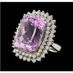 32.78 ctw Kunzite and Diamond Ring - 14KT White Gold
