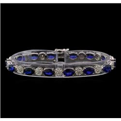 14KT White Gold 21.98 ctw Sapphire and Diamond Bracelet