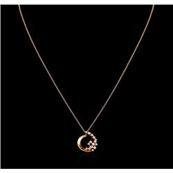 0.35 ctw Diamond Pendant With Chain - 14KT Rose Gold