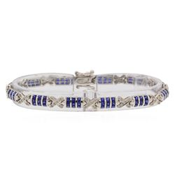 4.96 ctw Sapphire and Diamond Bracelet - 18KT White Gold