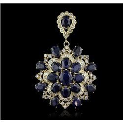 14KT Yellow Gold 28.47 ctw Sapphire and Diamond Pendant