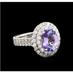 3.79 ctw Tanzanite and Diamond Ring - 14KT White Gold