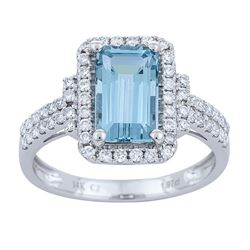 1.97 ctw Aquamarine and Diamond Ring - 14KT White Gold