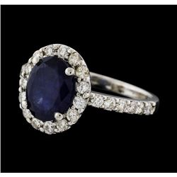 3.01 ctw Sapphire and Diamond Ring - 14KT White Gold
