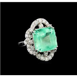 GIA Cert 11.70 ctw Emerald and Diamond Ring - 14KT White Gold