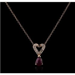 14KT Rose Gold 0.84 ctw Ruby and Diamond Pendant With Chain