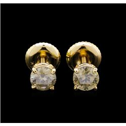 0.80 ctw Diamond Earrings - 14KT Yellow Gold