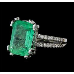 GIA Cert 5.99 ctw Emerald and Diamond Ring - 14KT White Gold