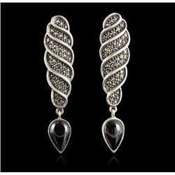 Judith Jack Sterling Silver Onyx & Marcasite Earrings