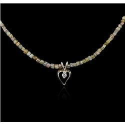 14KT Yellow Gold 32.99 ctw Rough Diamond Necklace With Charm